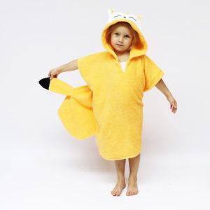 пончо махровое пляжное в бассейн для детей с мордочкой лисичка