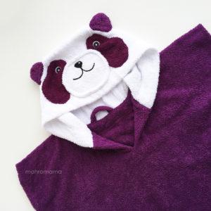 махровое пончо с капюшоном для детей с мордочкой панда