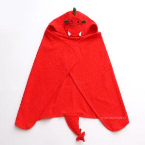 красный дракон махровое детское полотенце с капюшоном