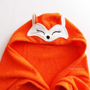 махровое детское полотенце с капюшоном лисичка рыжая
