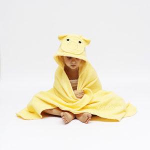 детское махровое полотенце с капюшоном с мордочкой хрюшка