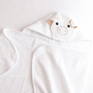 махровое детское полотенце с капюшоном белая хрюшка