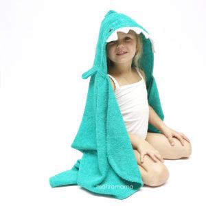 детское махровое полотенце с капюшоном с мордочкой акула