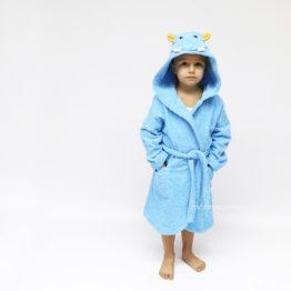голубой бегемот махровый детский халат с капюшоном и мордочкой