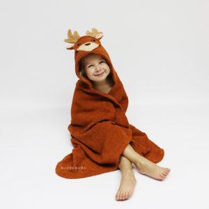 детское махровое полотенце с капюшоном олень