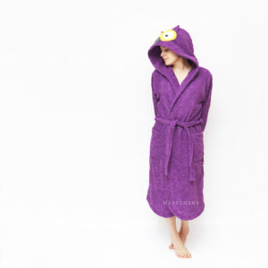банный махровый женский халат с капюшоном сова