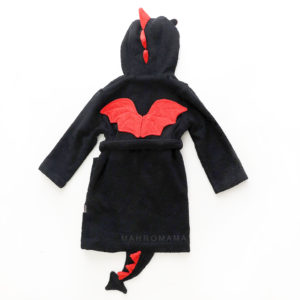 махровый халат с капюшоном для детей и взрослых с мордочкой дракона и колючками и крыльями