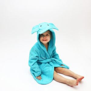детский махровый халат слоник бирюзовый с капюшоном