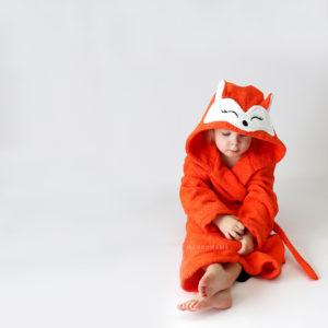 махровый халат с капюшоном рыжая лиса