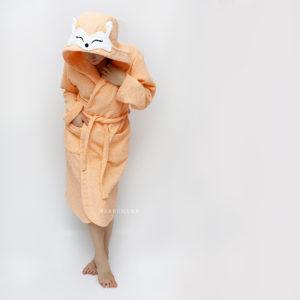 женский махровый халат с капюшоном персиковая лиса