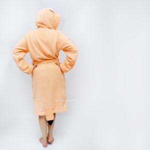 халат махровый с капюшоном лиса персиковая