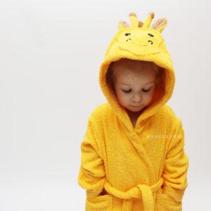 детский махровый халат жираф с мордочкой и ушками