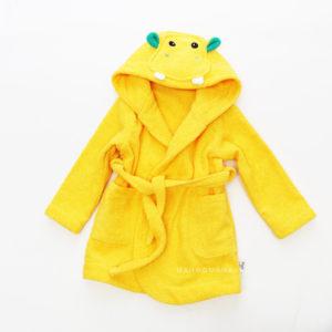 детский махровый халат с капюшоном и мордочкой и ушками бегемотик