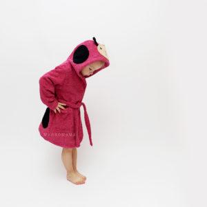 детский махровый халатик с капюшоном божья коровка
