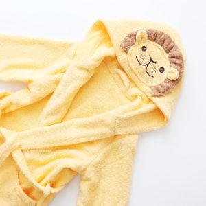 детский махровый халатик с капюшоном лев