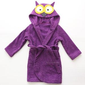 махровый детский халат с капюшоном с мордочкой животного сова