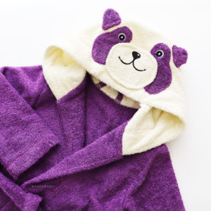 детский махровый халатик с капюшоном панда сиреневая