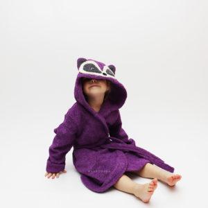 детский махровый халатик с капюшоном енот