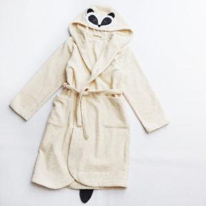 махровый халат для детей с капюшоном с мордочкой животного с ушками енот