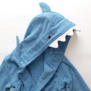 махровый халат с капюшоном для детей и взрослых акула