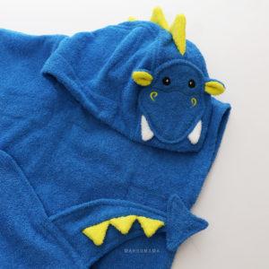 махровое пончо с капюшоном синий дракон