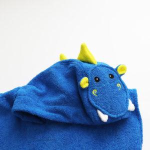 детское махровое пончо с капюшоном с ушками и мордочкой дракон с крыльями