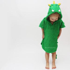 махровое детское пончо дракон с капюшоном с колючками и крыльями