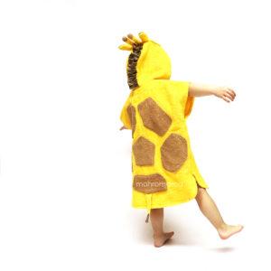махровое детское пончо с капюшоном жирафик