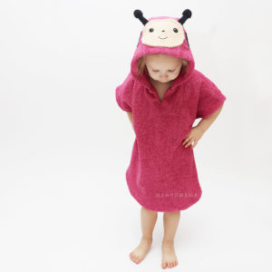 махровое пончо с капюшоном для детей божья коровка