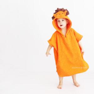 львенок пончо махровое с капюшоном детское