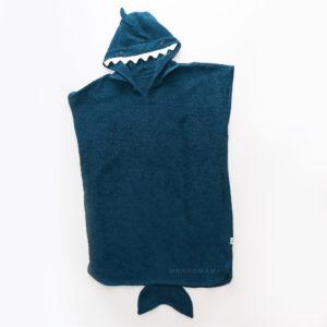 махровое пончо с капюшоном животным акула