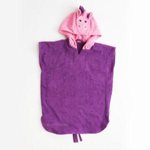 махровое пончо с капюшоном для детей единорог