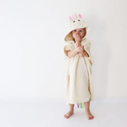детское махровое пончо единорог с радужной гривой