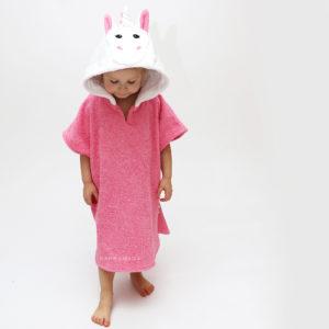 детское махровое пончо с капюшоном единорог