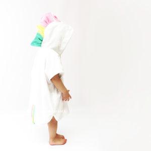 махровое пончо для детей единорог с разноцветной гривой