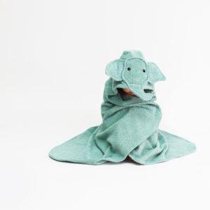детское махровое полотенце с капюшоном с мордочкой слоник