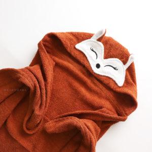 махровое натуральное полотенце с капюшоном для детей лисичка