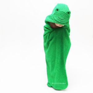 детское махровое полотенце с капюшоном зеленая лягушка