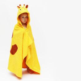 детское махровое полотенце с капюшоном уголком жираф