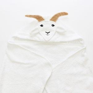 детское махровое полотенце с капюшоном с мордочкой коза