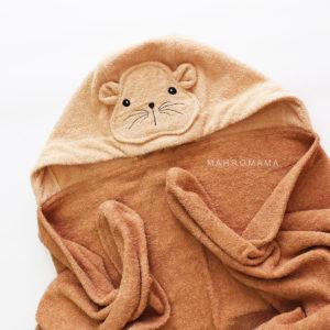 детское махровое полотенце с капюшоном с мордочкой хомяк