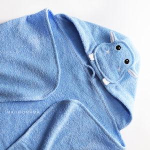 махровое полотенце с капюшоном для детей бегемотик с мордочкой животных