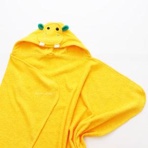 махровое детское полотенце с капюшоном жёлтый бегемот