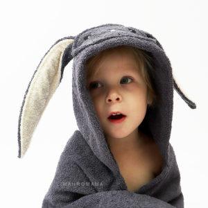 махровое детское полотенце с капюшоном с ушками зайчик