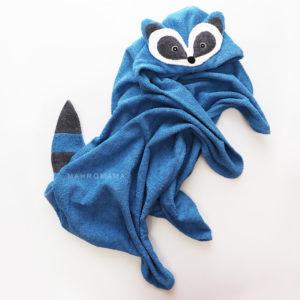 детское махровое полотенце с капюшоном енот