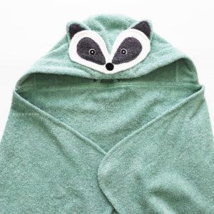 махровое полотенце с капюшоном для малышей енот