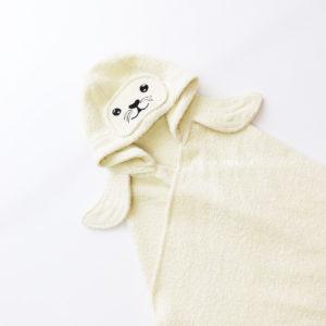 полотенце для детей с капюшоном тюлень молочный