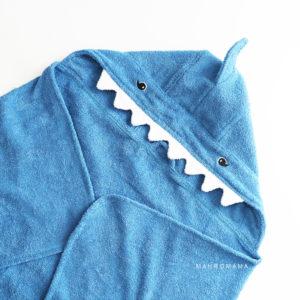 детское махровое полотенце из натурального хлопка с капюшоном акула