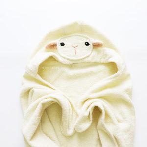 полотенце махровое с капюшоном овечка с мордочкой