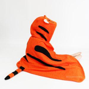 детское махровое полотенце с капюшоном уголком тигренок